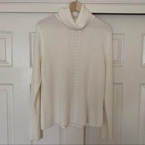 Debbie Morgan Cream Sweater Ribbed  Long Sleeve L